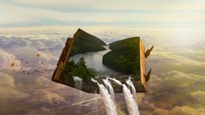 Artistic Book Manipulation River Waterfall 2101x1450 Wallpaper