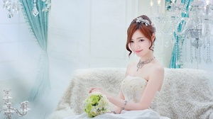 Bride Woman Girl Asian Necklace Wedding Dress White Dress Redhead Chandelier 2048x1365 Wallpaper