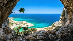 Beach Cave Horizon Ocean Rock Sea Tropical Turquoise 5036x3752 Wallpaper