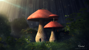 Artistic Fantasy Forest Mushroom 1920x1080 Wallpaper