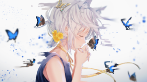 Anime Anime Girls Butterfly Praying Cat Ears Flower In Hair White Background Ribbons Necklace Blonde 2054x1289 Wallpaper