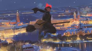 Anime Girls Anime Kikis Delivery Service Studio Ghibli Illustration Concept Art Painting Fan Art Ate 2000x1348 Wallpaper
