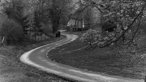 Monochrome Road Village Landscape 3095x2063 Wallpaper
