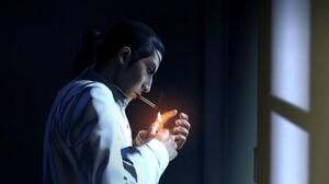 Yakuza Yakuza 0 Video Games Goro Majima Japanese Eyepatches White Shirt Smoke Smoking Window Black H 1920x1080 Wallpaper