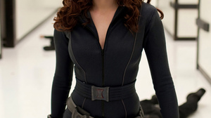 Scarlett Johansson Women Actress Black Widow Curly Hair Black Clothing Iron Man MCU Film Stills 2000x2682 Wallpaper