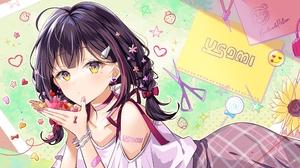 Braids Candy Ribbons Short Hair Hair Pins Long Earings Yellow Eyes Usami Moe Skirt Lollipop Twintail 4000x2250 Wallpaper