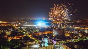 Building City Fireworks Kaunas Lithuania Night 2047x1364 Wallpaper