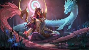 Yuhong Ding Drawing League Of Legends Women Karma League Of Legends Redhead Dragon Fantasy Art 3840x2160 Wallpaper