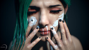 Face 3D Render CGi Women Painted Nails Artwork Green Hair Makeup 1920x1080 Wallpaper