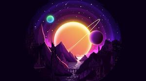 Night Landscape Vector Illustration Planet 1600x1200 Wallpaper