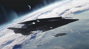 Encho Enchev Artwork Vehicle Futuristic Military Aircraft Digital Art Planet Atmosphere Military 2200x1238 Wallpaper