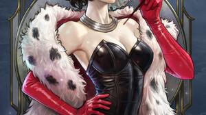 Kim Sung Hwan Drawing Cruella De Vil Women Black Clothing Dress Fur Frame Elbow Gloves Emma Stone 2908x3500 Wallpaper