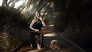 Women Model Sitting Dog Animals Mammals Looking Away Plants Barefoot 2000x1335 Wallpaper