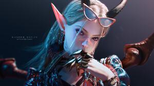Tian Zi CGi Women Horns Blonde Sunglasses Pointy Ears Looking Away Armor Simple Background 1920x1080 Wallpaper