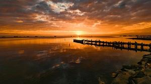 Nature Landscape Sunset Pier 3840x2160 Wallpaper