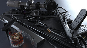 Anthony Brun ArtStation 3D CGi Digital Art Sniper Rifle Black Rifle Whisky Glass Whiskey Ice Cubes W 2560x1707 Wallpaper