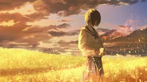 Anime Anime Girls Clouds Sunset Short Hair Sailor Uniform Flowers Wheat Sky Petals Brunette Saku Ine 2327x1732 Wallpaper