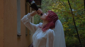 Karina Salakhutdinova Women Pink Hair Shoulder Length Hair Straight Hair Veils White Clothing Weddin 2560x1440 Wallpaper