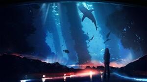 Aliens Fish Underwater Shark Aquarium T1na 2560x1440 Wallpaper