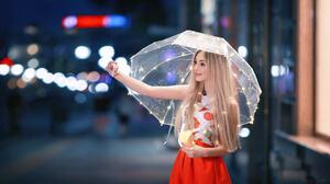 Women Model Sergey Shatskov Urban Selfies Umbrella City Night Blonde 500px Long Hair Skirt Women Out 1920x1080 Wallpaper
