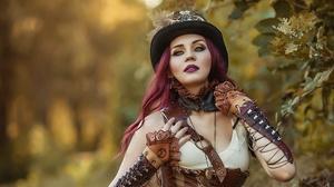 Cosplay Depth Of Field Girl Hat Lipstick Model Purple Hair Steampunk Woman 2000x1335 Wallpaper