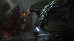 Artem Demura Dark Digital Art Fantasy Art Giant Lightning Creature Lantern Sword Statue Horse 1920x972 Wallpaper