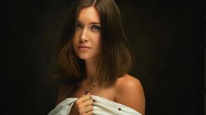 Zachar Rise Women Brunette Looking At Viewer Bare Shoulders Portrait Necklace Simple Background Blue 2048x1400 Wallpaper