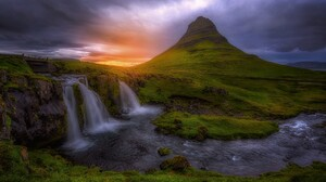 Cliff Earth Grass Moss Mountain Sunset Waterfall 2048x1365 Wallpaper