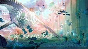 Anime Anime Girls Cyan Hair Skirt Fish Clouds Skeleton Bones Jellyfish Ship Whale Stingray Yellow Ey 4574x2300 Wallpaper