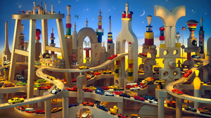 Digital Art Artwork Toys Car Vehicle Colorful Moon Stars Wood Miniatures Matchbox Cars Night 3840x2310 wallpaper