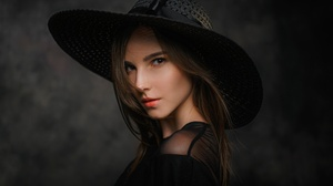 Woman Girl Hat Brunette Brown Eyes 2560x1709 Wallpaper