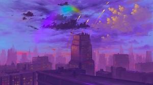 BisBiswas Digital Art Cityscape Rocket Clouds Rainbows 1920x1080 Wallpaper