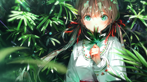 Anime Anime Girls Leaves Green Eyes Long Hair Ribbons Rain Water Drops Red Ribbons Brunette Dress DS 4230x2888 Wallpaper