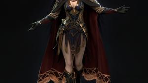 Cifangyi CGi Women Armor Viking Magician Cape Walking Simple Background 3840x3840 Wallpaper
