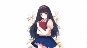 Black Hair Blue Eyes Book Dress Flower Long Hair Tomoyo Daidouji 2033x1355 Wallpaper
