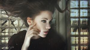 Yuri Egoroff Women Ksenia Kokoreva Brunette Long Hair Sun Rays Portrait Makeup Pink Lipstick Eyeline 2048x1388 wallpaper