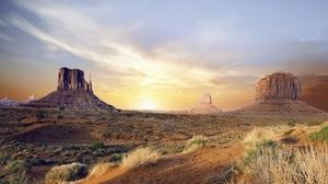 Desert Monument Valley Nature Sunrise Usa 3000x2129 wallpaper
