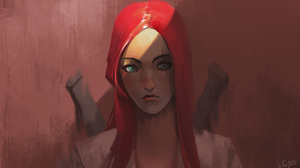 Aqua Eyes Katarina League Of Legends League Of Legends Long Hair Red Hair Scar Woman Warrior 4000x2500 Wallpaper