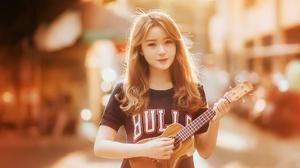 Asian Brunette Depth Of Field Girl Guitar Model Sepia Ukulele Woman 1920x1146 Wallpaper