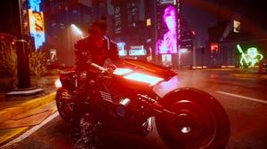 Cyberpunk Cyberpunk 2077 Cyberpunk Samurai V Cyberpunk V Neon City Lights Motorcycle 1920x1080 Wallpaper