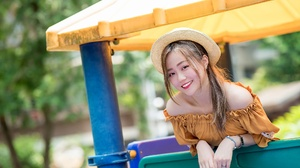 Asian Brunette Depth Of Field Girl Hat Model Smile Woman 2048x1366 Wallpaper