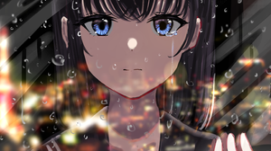 Anime Anime Girls Water Drops Blue Eyes Dark Hair School Uniform Reflection City Lights Aroamoyasi 2894x4093 Wallpaper