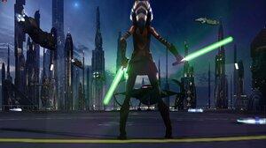 Star Wars Jedi Girl Woman Sci Fi Lightsaber Ahsoka Tano 4400x2700 Wallpaper