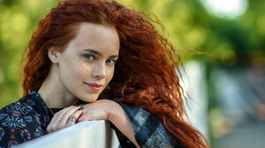 Alexandr Pavlyuk Women Redhead Long Hair Wavy Hair Looking At Viewer Smiling Blue Eyes Freckles Jewe 2500x1406 Wallpaper