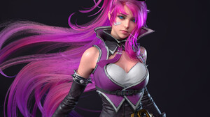 Women Digital Art Artwork Looking At Viewer Simple Background Purple Hair Long Hair Fantasy Girl Fan 1920x1920 Wallpaper