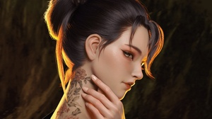Artistic Girl Hand Profile Tattoo 3000x2448 wallpaper