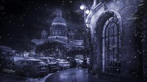 Car City Night Saint Petersburg Snow Winter 1980x1320 wallpaper