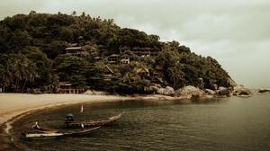 Thailand Boat Beach 4500x2123 Wallpaper