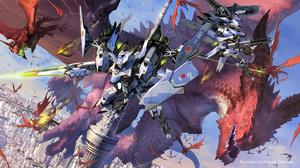 Robot Mecha Fight Mech War Fantasy Art Concept Art Toshiaki Takayama 1500x833 Wallpaper