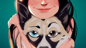 Julio Cesar Artist Dog Looking At Viewer Freckles Large Eyes Smiling Smile Portrait Display Dark Hai 2000x2750 Wallpaper